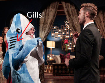 Nick Viall giving rose to girl in Shark/Dolphin costume